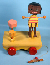 1944 George Pal Puppetoons Wood Wagon Pull Toy Character Puppet Animation