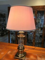 Vintage Stiffel Brass And Glass Nautical Table Lamp 25 Tall Bottom To Socket