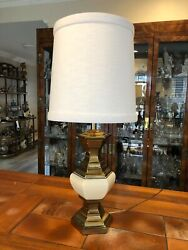 Vintage Stiffel Brass And Porcelain Hexagonal Table Lamp 22 T Bottom To Socket