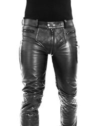 Cowhide Aniline Menand039s Leather Pant Double Zipped Gay Bikers Pants / Leather Pant
