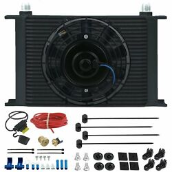 25 Row Trans-mission Oil Cooler 12 Volt Fan 3/8 Npt 180'f Thermostat Wiring Kit