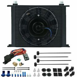 30 Row Engine Trans Oil Cooler Electric Fan 3/8 Inch 180f Thermostat Switch Kit