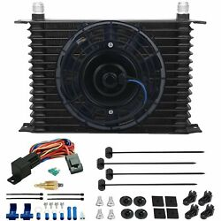 15 Row 10an Trans-mission Oil Cooler Fan 3/8 Npt 180'f Thermal Temp Switch Kit