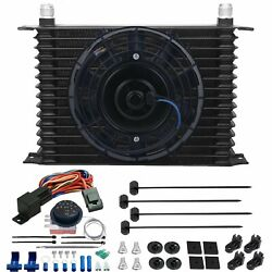 15 Row 10an Trans Oil Cooler Electric Fan Adjustable Thermostat Control Wire Kit