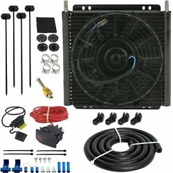 30 Row Trans-mission Oil Cooler 9 Electric Car Truck Fan Toggle Flip Switch Kit