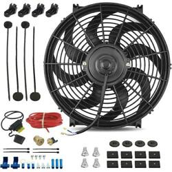 14 Inch 120w Electric Cooling Fan 3/8 Npt 180'f Thermostat Switch Wiring Kit