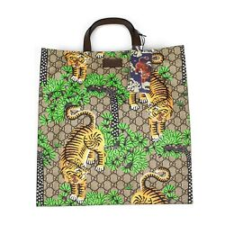 Nwt Gg Supreme Logo Bengal Tiger Print Canvas Leather Tote Bag Authentic