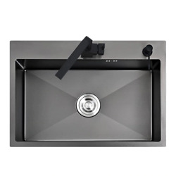 Black Kitchen Sink All Sizesandtools Needed Stainless Steel Seamless Welding Pia