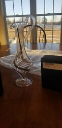 Clear And Silver Habd Blown 11 Pitcher Made In Egypt With Box