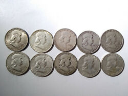 Lot Of 10 Franklin Half Dollars 1948 To 1954 Fifty Cent Coins Mg