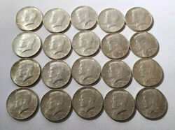 Roll Of 1964 Kennedy Half Dollars 20 Fifty Cent Coins Mg