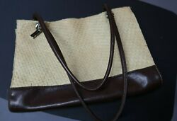 Straw and Faux Leather Large Shoulder Bag Inside Dividers Pockets Brown Cream $8.40