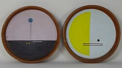 Couple Plates Terracotta Clay Abstract Futurism Attributable To Enzo Maiolino