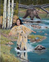 Jim Lang Water Can Wait Original Oil Painting Of Native American And Bear 20x16