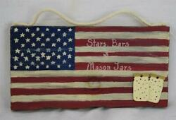 Unique Hand Crafted Wood Wall Hanger American Flag Stars Bars And Mason Jars