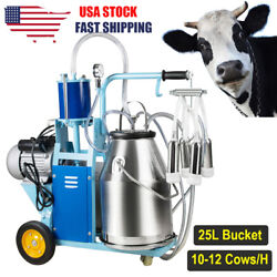 Electric Milking Machine Milker Goat Cows 25l Bucket Stainless Steel 550w 110v