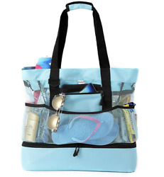 Large Mesh Beach Bag with Insulated Cooler Blue NEW HBX2 $19.99