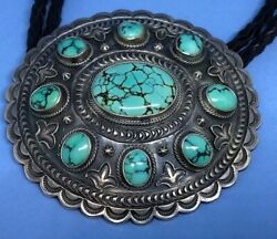 Vintage Navajo Native American Sterling Turquoise Bolo Tie