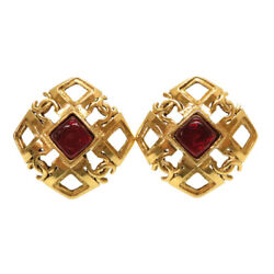 Authentic Cocomark Vintage Earrings Gold Red Metal 0768