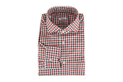 Kiton Napoli Men's Dress Shirt With Spread Collar | Checked Red | 17 - 43
