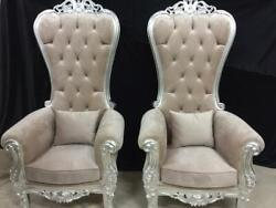 Baroque Style Throne Chairs In Tufted Champagne Velvet- A Pair