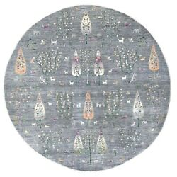 12and039x12and039 Peshawar Folk Art Willow And Cypress Tree Design Handmade Round Rug R67159