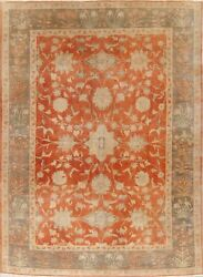 Antique Orange Rust/green All-over Authentic Oushak Turkish Wool Area Rug 8'x11'