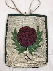 Antique Native American Tobacco Pouch Handmade Glass Beaded Flower Indian Bag