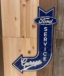 Ford Service Garage Sign Metal Embossed Mustang Truck Man Cave Decor