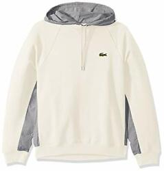 Lacoste Menand039s Tattersall Sweatshirt With Woven Hoo - Choose Sz/color