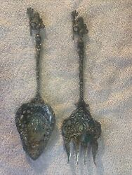 Antique Ornate Serving Spoon And Fork Montagnani Made In Italy Mermaids Lions