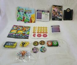 Pokemon Accessories Lot Manuals, Pogs, Poster, Dice, And More +