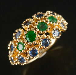 Vintage 1970and039s 18k Yellow Gold Round Emerald And Sapphire Ring 1.98ctw Size 4.5