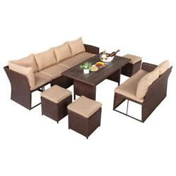 9 Seats Outdoor Patio Furniture Rattan Dining Table Cushioned Chairs Table Set
