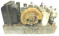 Vintage Philco 70l Console Radio Working Chassis W/ Good Tuning And Good Graphic