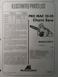 Mcculloch Chain Saw Pro Mac 10-10 Parts Catalog Manual 2-cycle Gas Chainsaw 1977