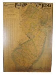 Antique 1901 National Publishing Company's Road Map Of New Jersey Geological 42