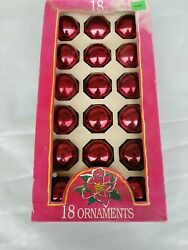 18 Red Round Glass Christmas Ornaments Vintage Pyramid Rauch Industries