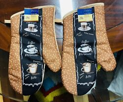 Home Collection Kitchen Oven Mitts Mittens Coffee. Lot of 2. ASeller.