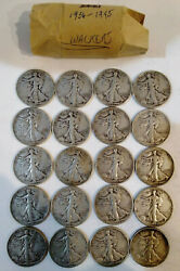 Roll Of Walking Liberty Half Dollars 20 Fifty Cent Coins 1936 To 1945  Mg