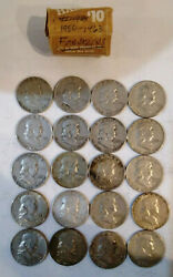 Roll Of Franklin Half Dollars 20 Fifty Cent Coins 1950 To 1963 Mg