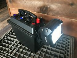 12v 7ah Mighty Max Powerbox W/ Charger Flood Light Led Camping Kayak All Weather