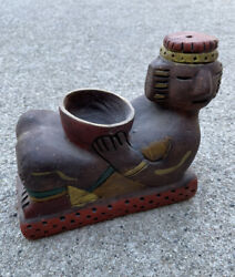 Vintage Aztec Mayan Mexican Red Clay Pottery Reclining Man Incense Burner Bowl