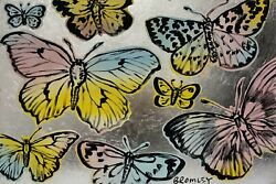 David Bromley Butterflies Original Polymer And Silver Leaf On Canvas 60cm X 90cm