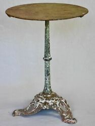 Art Nouveau Bistro Table With Red And Green Patina