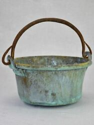 Antique French Copper Cooking Pot With Blue Patina 9
