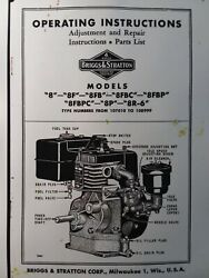 Briggs Stratton Model 8 8r-6 8f Gas Engine Owner, Parts And Service Repair Manual