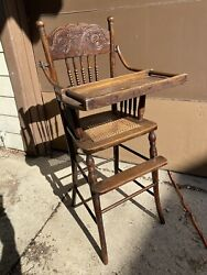 Antique Wooden Press Back Spindles Cane Seat Vintage Baby High Chair Swing Tray