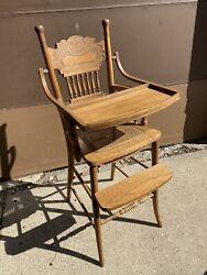 Ornate Antique Wooden Press Back Spindles Cane Seat Vintage Baby High Chair Tray