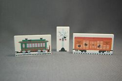 3pc Railroad Cats Meow Wooden Shelf Sitter Collectibles